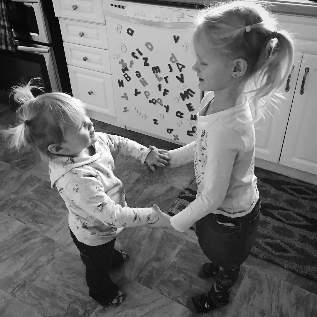 Zoe and Elsie dancing together